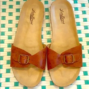 LuckyBrand slides brown leather size 7